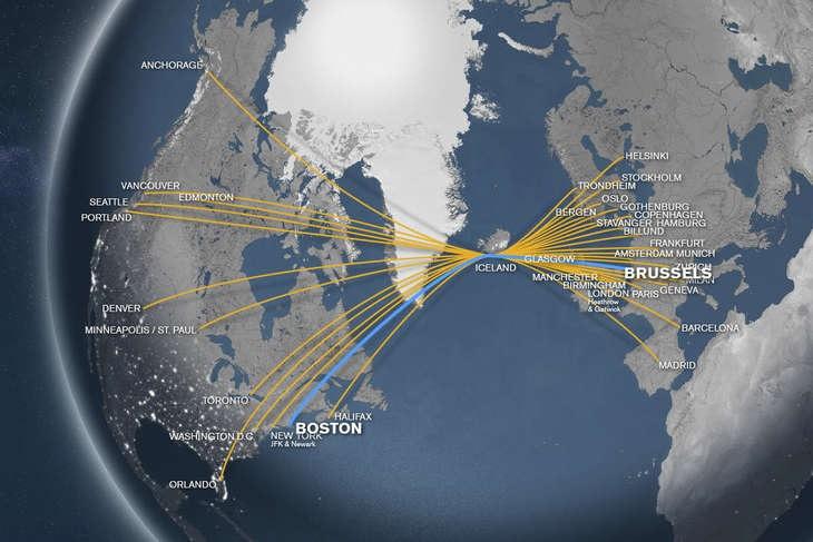 carte de l'islande, entre Amérique et Europe