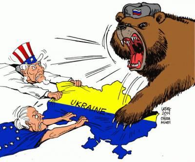 L'Ukraine entre l'ours russe et lesOccidentaux (caricature)