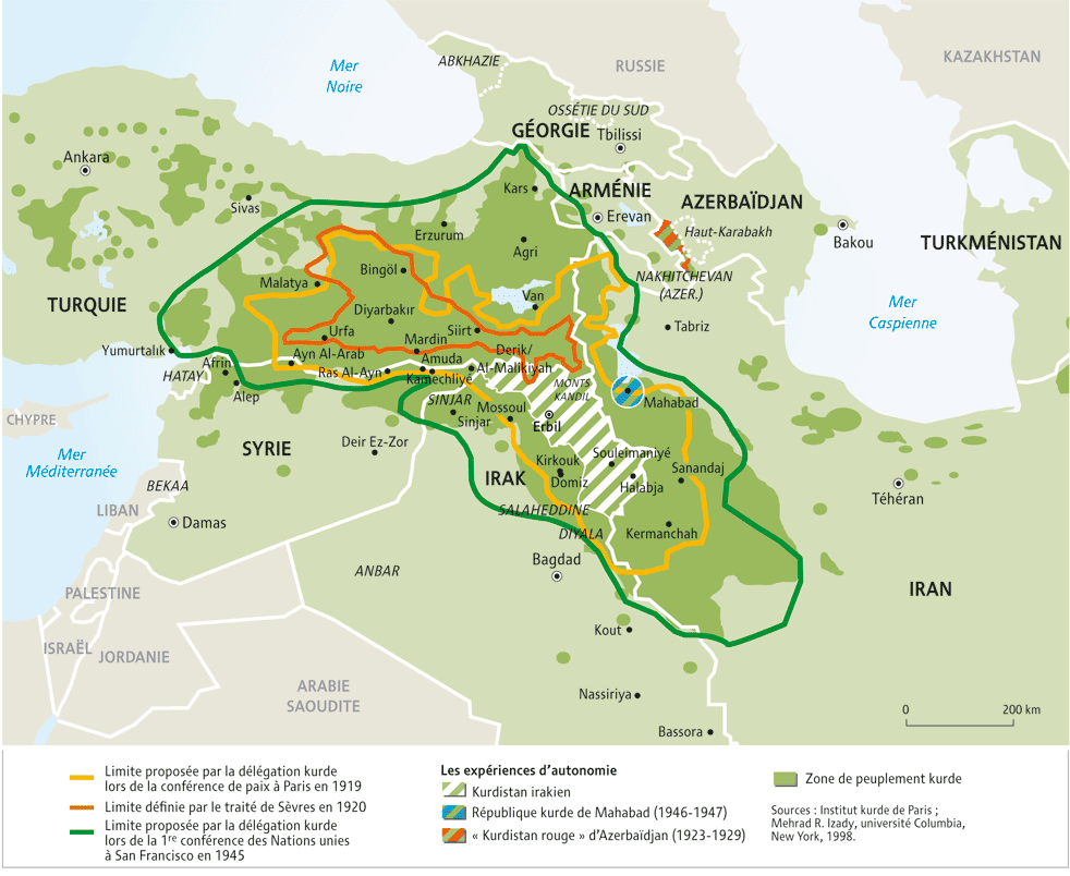 carte du Kurdistan