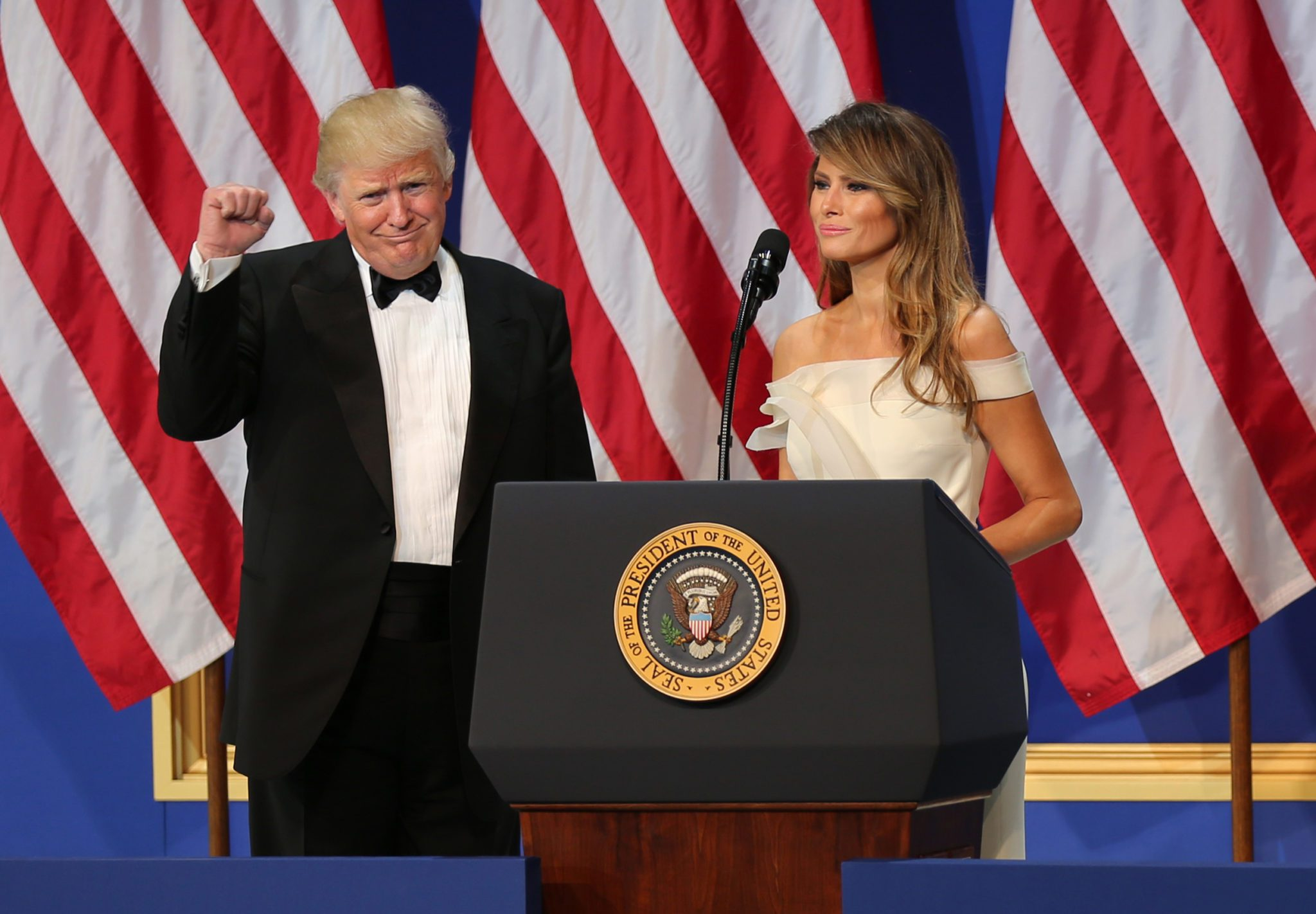 President Donald J. Trump celebrates the First Lady Melania Trump's speech at the Salute to Our Armed Services Ball at the National Building Museum, Washington, D.C., Jan. 20, 2017. The event, one of three official balls held in celebration of the 58th Presidential Inauguration, paid tribute to members of all branches of the armed forces of the United States, as well as first responders and emergency personnel. (DoD photo by U.S. Army Sgt. Kalie Jones)
