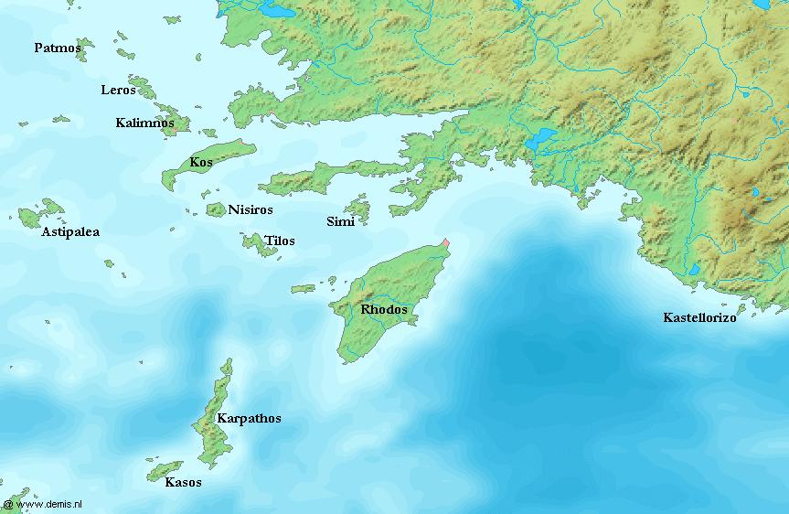 Les principales îles du Dodécanèse (source : Wikipedia)